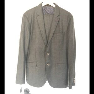 Ted Baker Two Button Unlined Grey Wool Suit